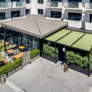 Aerial view of the covered dining space at Malo and Smith & Sheth, Havelock North