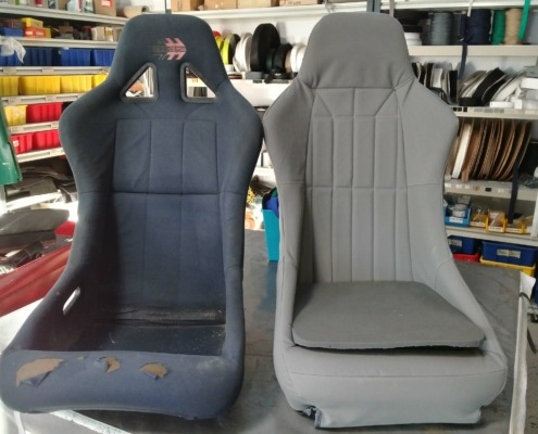 Before and After - well used jet boat seats get a new lease on life with these custom made cover