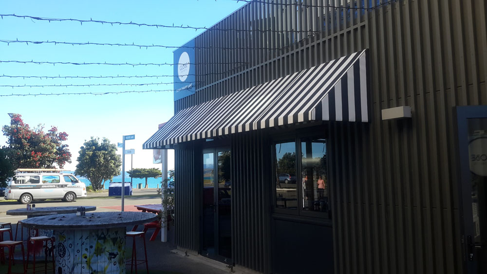 Globe Theatre fixed frame awning commercial installation hospitality Hawkes Bay Napier