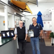 Stephen Sinnott and Freddy van der Schyff at Douglas looking happy with the international awning award