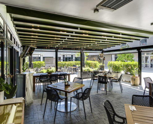 Retractable shade roof extended at Malo and Smith & Sheth Havelock North Hawke's Bay