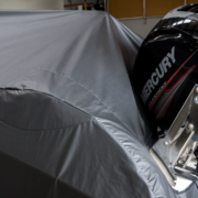 Custom black boat cover