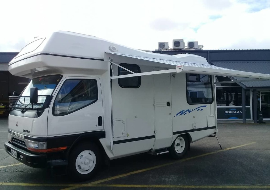Motorhome awning cassette style extended for shade Hawkes Bay NZ