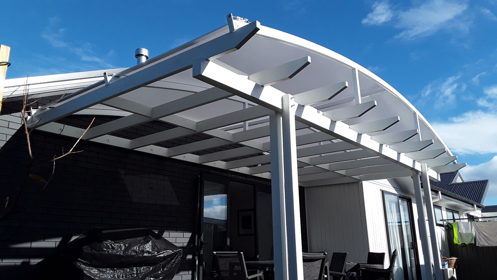Tensioned PVC Curved Roof Added to Existing Pergola Hawkes Bay