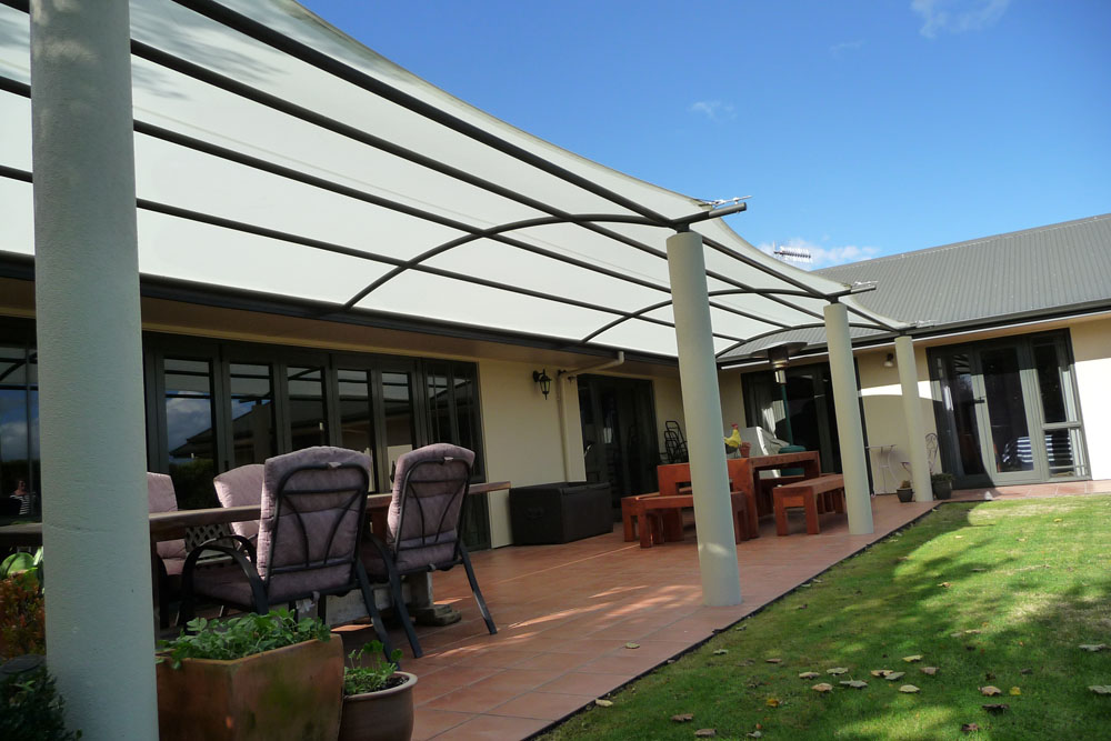 Custom Outdoor Pergola with Tensioned PVC Fixed to Existing Frame Hawkes Bay