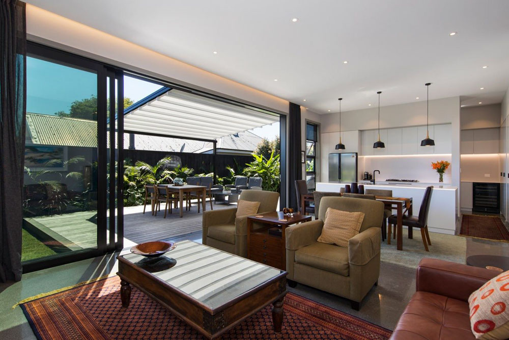 From inside the retractable roof extends and adds aesthetic appeal