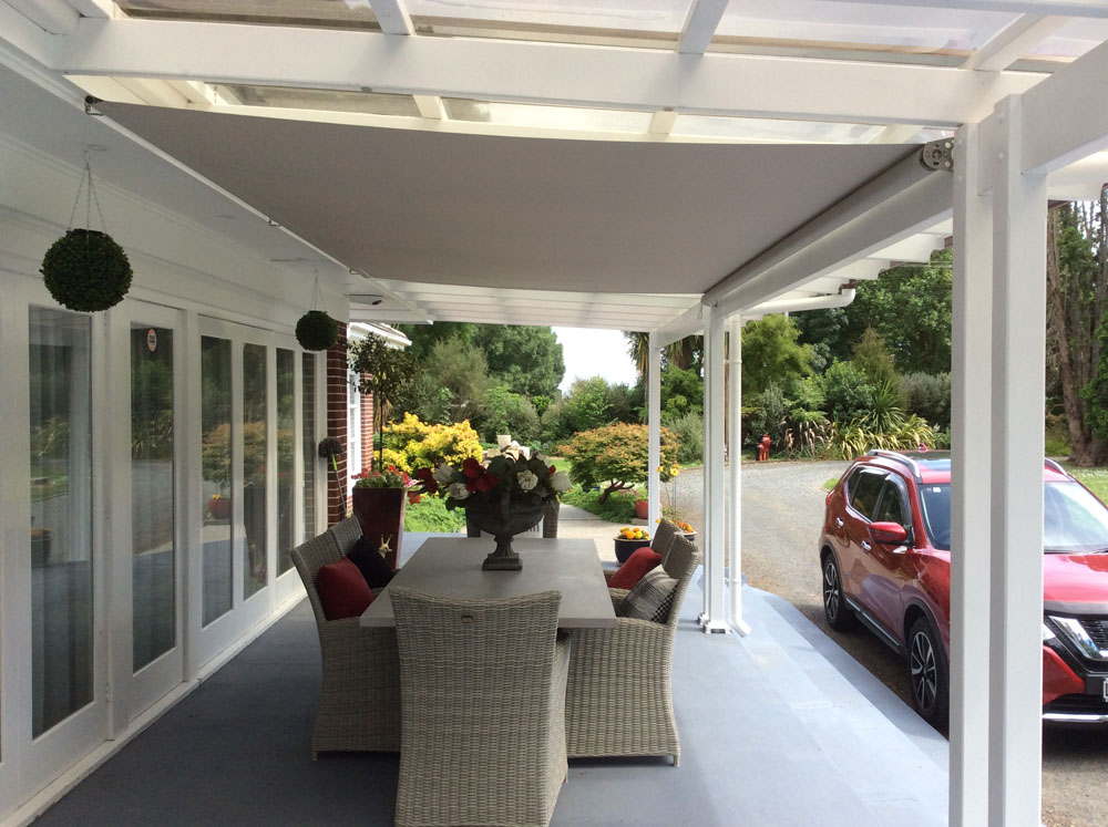 Retractable Shade Underneath an Existing Pergola Structure Hawkes Bay