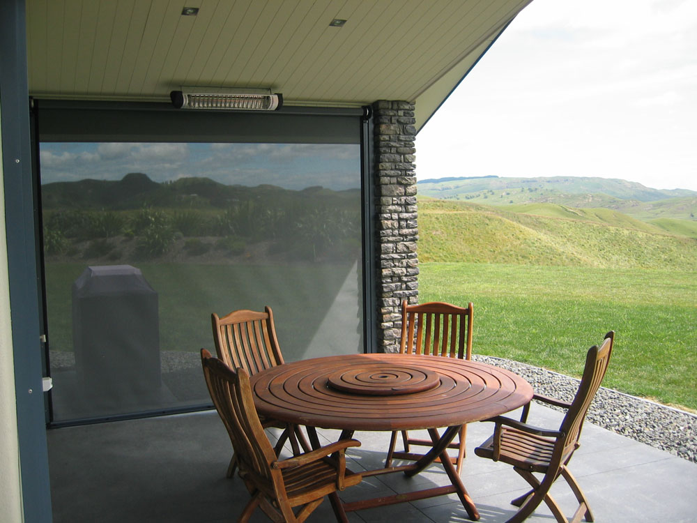 A cleverly placed mesh screen provides shelter from sun and wind Hawkes Bay NZ