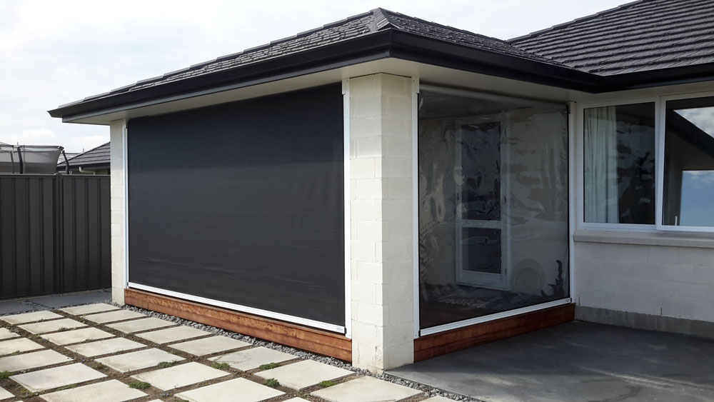 Fully enclosed with a mesh and PVC blind combo for privacy and shelter Hawkes Bay NZ