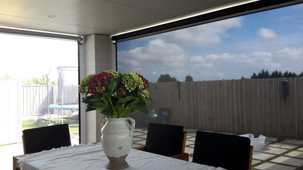 Outdoor roller blinds provide privacy from neighbouring properties Hawkes Bay NZ