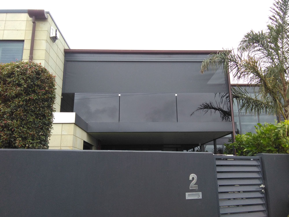 An upper balcony installation of Ziptrak blinds Hawkes Bay NZ