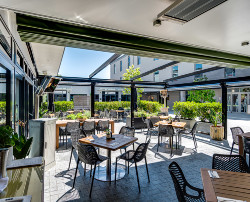 Retractable shade roof opened up at Malo and Smith & Sheth Havelock North Hawke's Bay