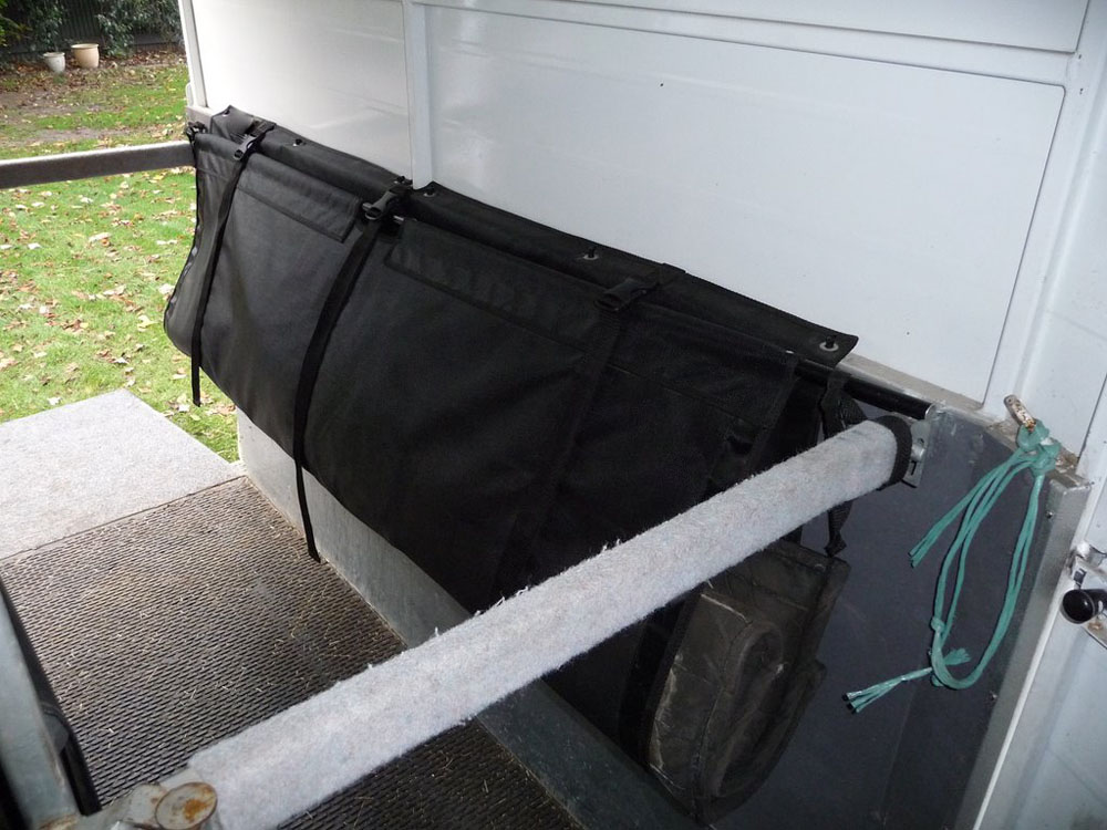 Custom horse float hammock organiser made by Douglas Innovation's PVC and textile upholstery team, Hawke's Bay NZ