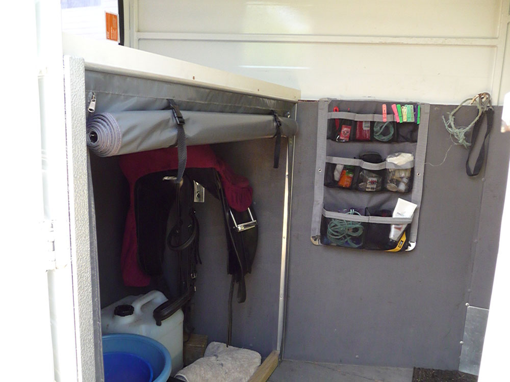 Customised Horse Float Feed and Tack Organiser with Roll-up PVC Screen, made by Douglas Innovation, Hawkes Bay NZ