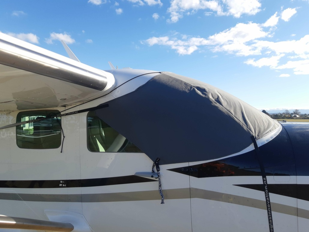 Custom made airplane cover keeps the craft flight-ready